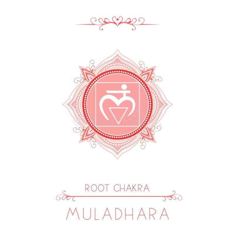 Illustrazione di vettore con il simbolo Muladhara - chakra della radice ed elementi decorativi su fondo bianco illustrazione vettoriale
