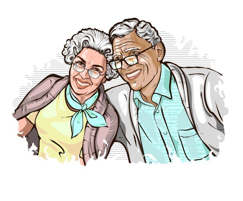 Illustrazione di vettore con l'immagine di una coppia matura elegante felice royalty illustrazione gratis