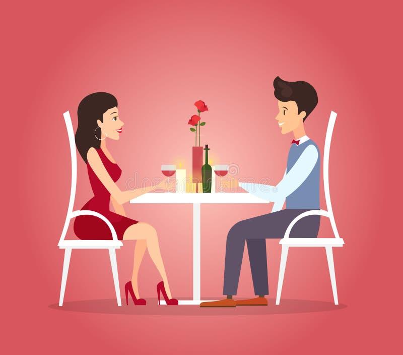 Illustrazione di vettore con la cena romantica delle coppie Concetto di datazione Celebrazione di giorno di biglietti di S. Valen royalty illustrazione gratis