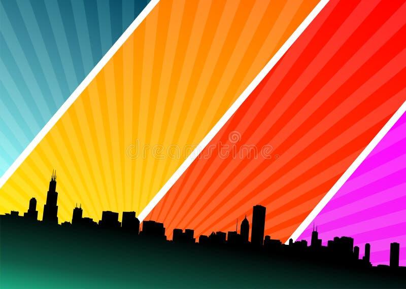 Illustrazione di vettore con la città sulla priorità bassa di lustro illustrazione vettoriale