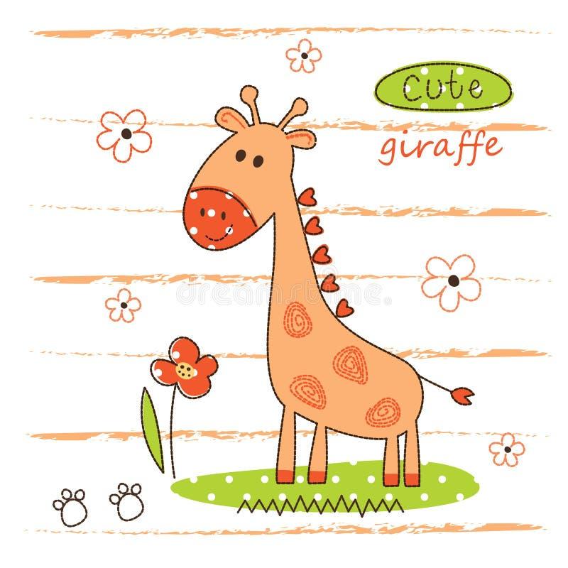 Illustrazione di vettore con la giraffa sveglia illustrazione di stock