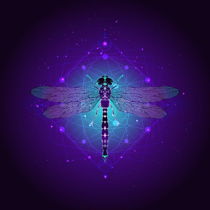 Illustrazione di vettore con la libellula disegnata a mano e simbolo geometrico sacro contro il cielo stellato Segno mistico astr illustrazione di stock
