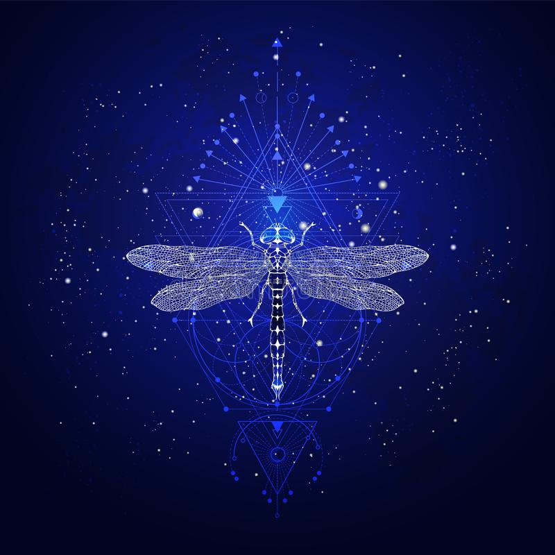 Illustrazione di vettore con la libellula disegnata a mano e simbolo geometrico sacro contro il cielo stellato Segno mistico astr royalty illustrazione gratis