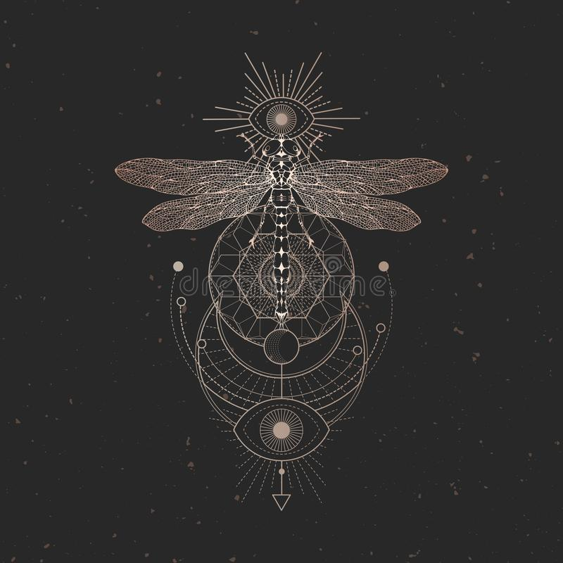 Illustrazione di vettore con la libellula disegnata a mano e simbolo geometrico sacro su fondo d'annata nero Segno mistico astrat illustrazione di stock