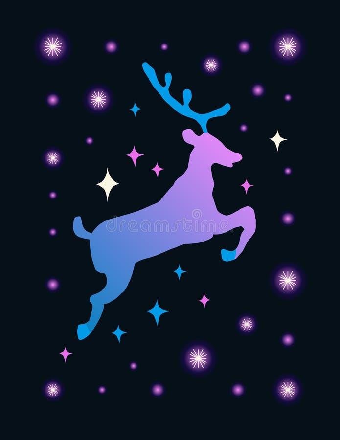 Illustrazione di vettore con la siluetta animale Cervi polari svegli con le stelle e la costellazione Fondo di magia del fumetto illustrazione vettoriale