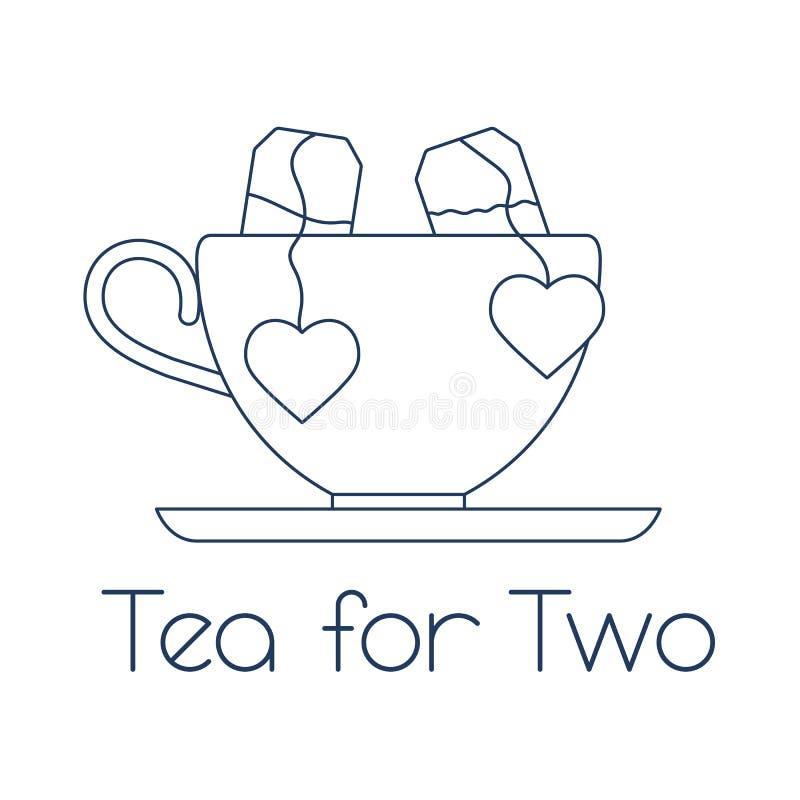 Illustrazione di vettore con la tazza, due bustine di t? con i cuori T? per due Giorno felice del `s del biglietto di S illustrazione vettoriale