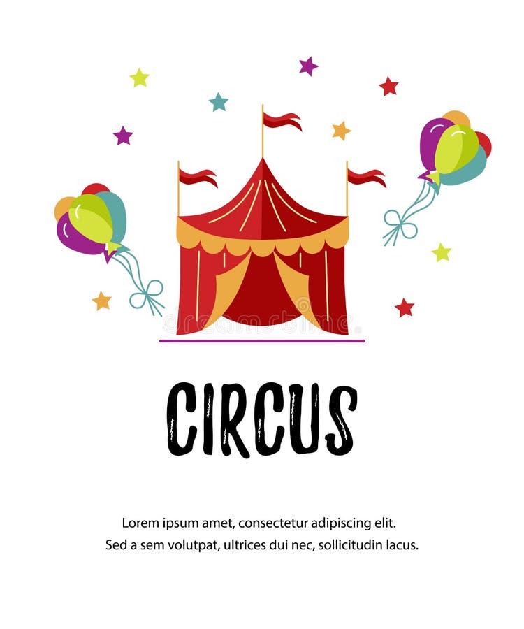Illustrazione di vettore con la tenda di circo illustrazione vettoriale