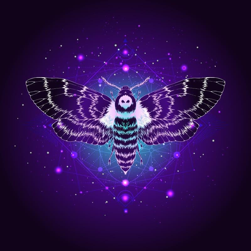 Illustrazione di vettore con la testa morta della farfalla disegnata a mano e simbolo geometrico sacro contro il cielo stellato S illustrazione di stock