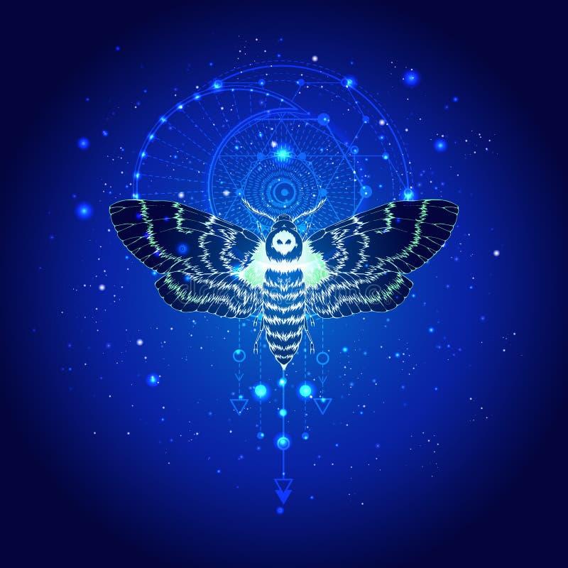 Illustrazione di vettore con la testa morta della farfalla disegnata a mano e simbolo geometrico sacro contro il cielo stellato S royalty illustrazione gratis