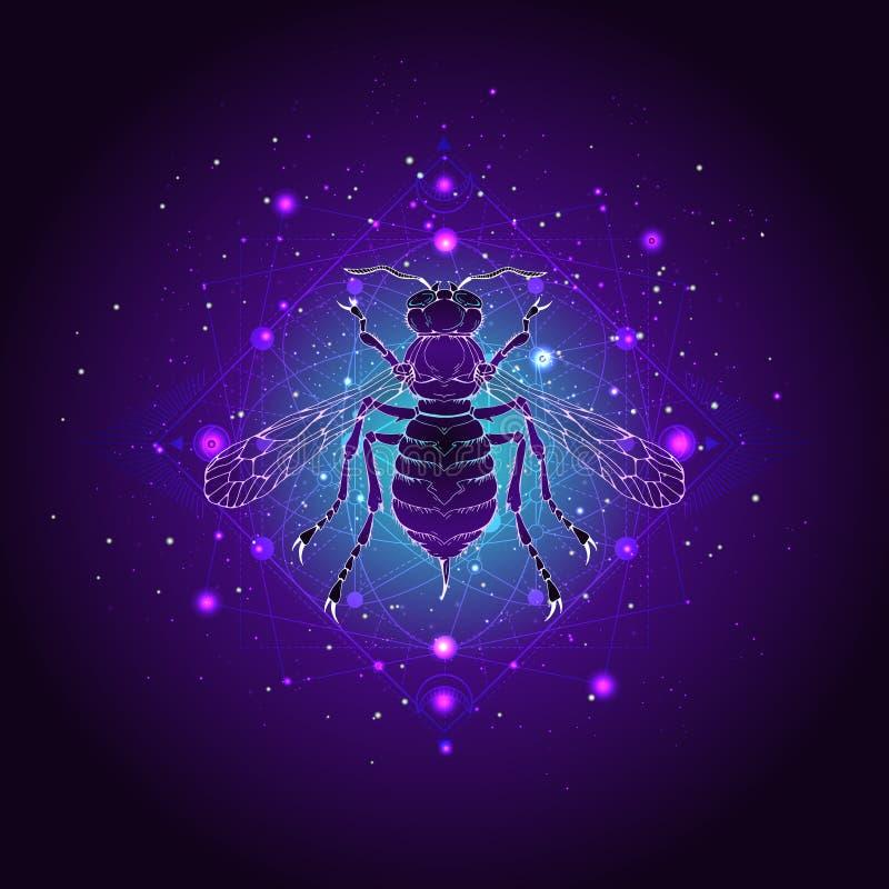 Illustrazione di vettore con la vespa disegnata a mano e simbolo geometrico sacro contro il cielo stellato Segno mistico astratto illustrazione vettoriale
