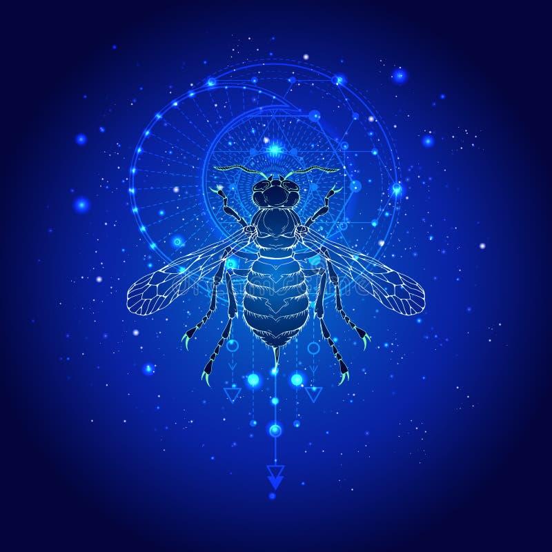Illustrazione di vettore con la vespa disegnata a mano e simbolo geometrico sacro contro il cielo stellato Segno mistico astratto royalty illustrazione gratis