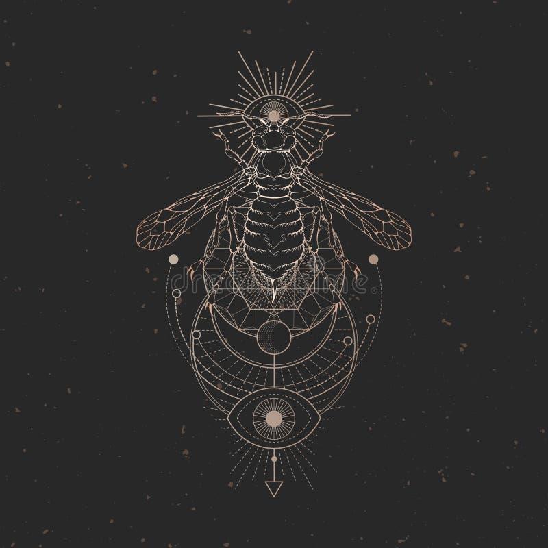 Illustrazione di vettore con la vespa disegnata a mano e simbolo geometrico sacro su fondo d'annata nero Segno mistico astratto illustrazione di stock
