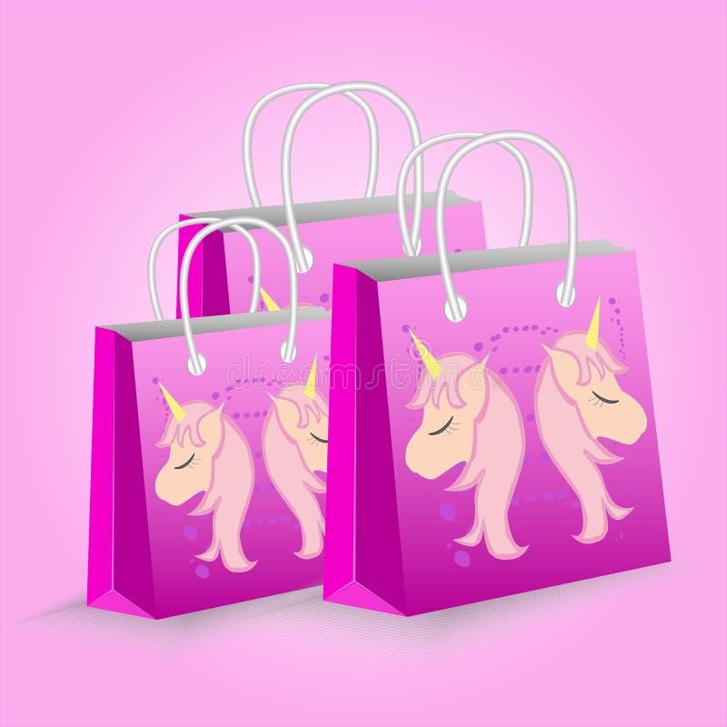 Illustrazione di vettore con le borse del negozio Unicorni svegli Fondo rosa illustrazione vettoriale