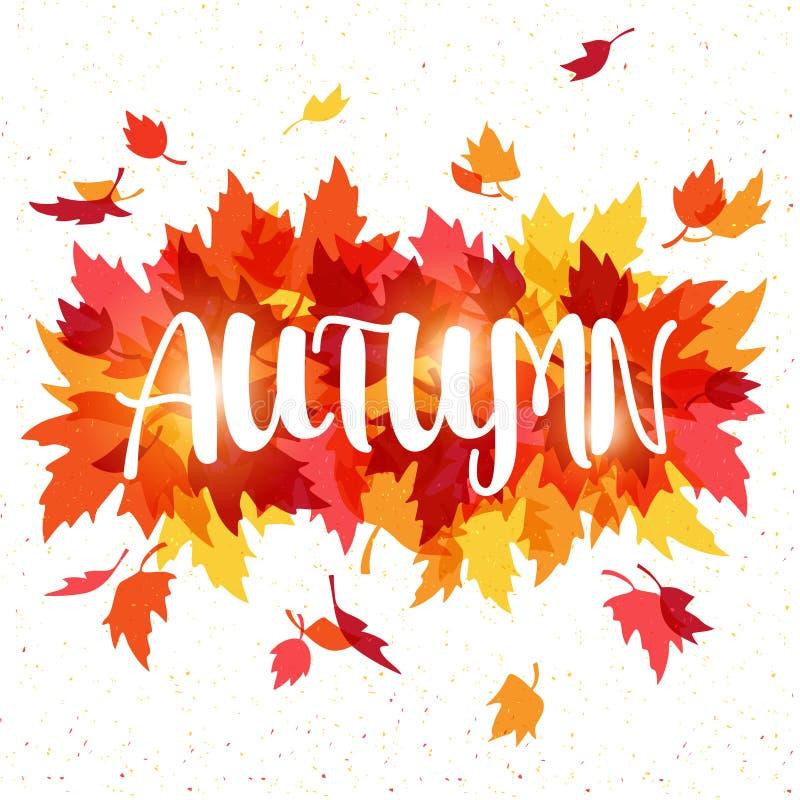 Illustrazione di vettore con le foglie cadenti di autunno illustrazione di stock