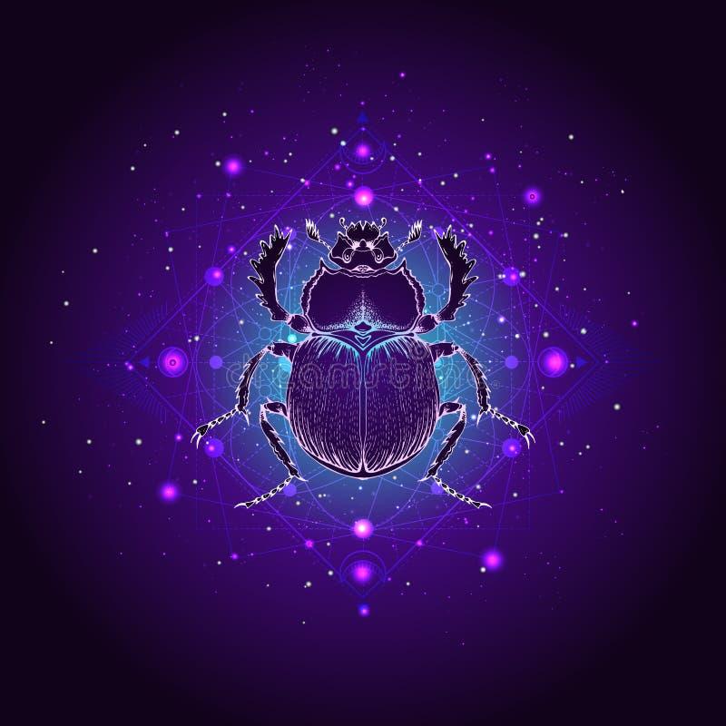 Illustrazione di vettore con lo scarabeo disegnato a mano e simbolo geometrico sacro contro il cielo stellato Segno mistico astra illustrazione vettoriale