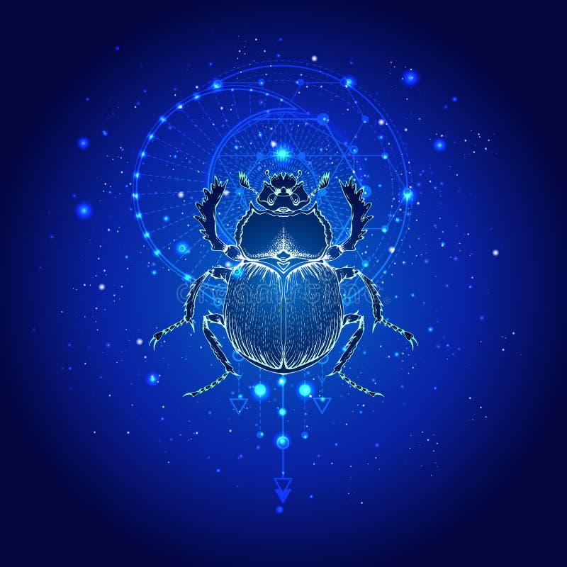 Illustrazione di vettore con lo scarabeo disegnato a mano e simbolo geometrico sacro contro il cielo stellato Segno mistico astra illustrazione di stock