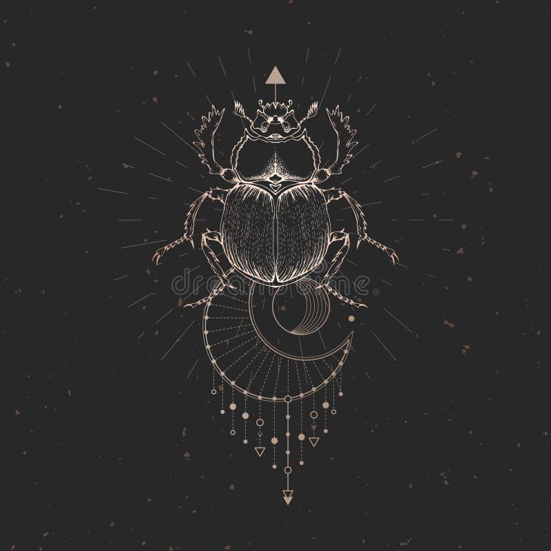 Illustrazione di vettore con lo scarabeo disegnato a mano e simbolo geometrico sacro su fondo d'annata nero Segno mistico astratt illustrazione vettoriale