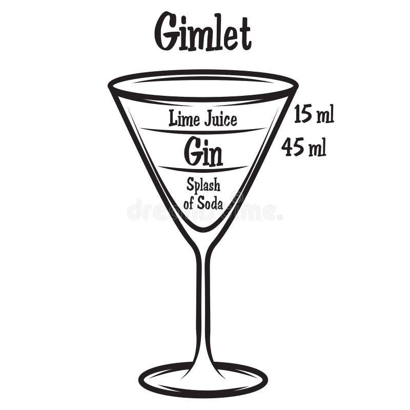 Illustrazione di vettore con lo schema del cocktail alcolico illustrazione vettoriale