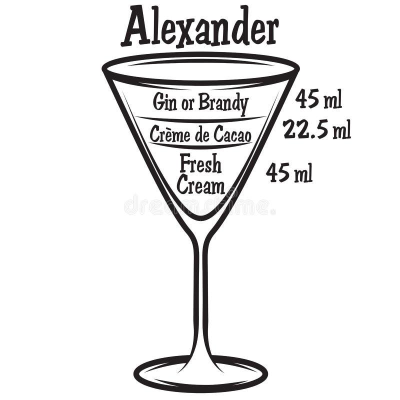 Illustrazione di vettore con lo schema del cocktail alcolico illustrazione di stock