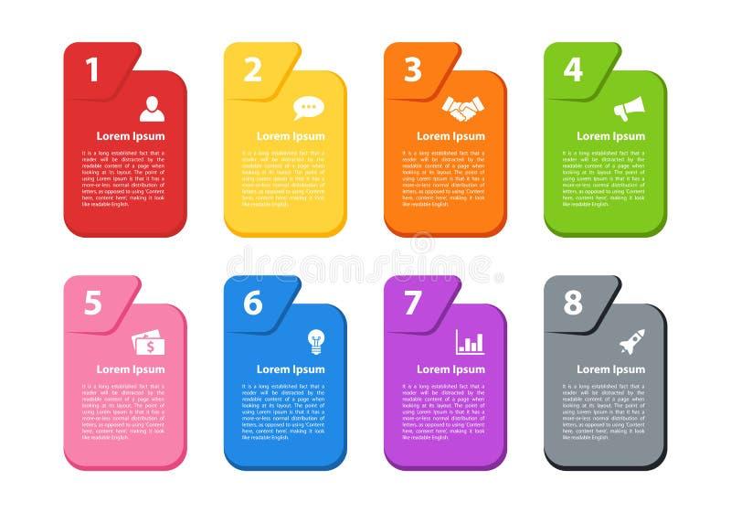 Illustrazione di vettore di concetto di affari di progettazione di Infographic con 8 punti illustrazione di stock