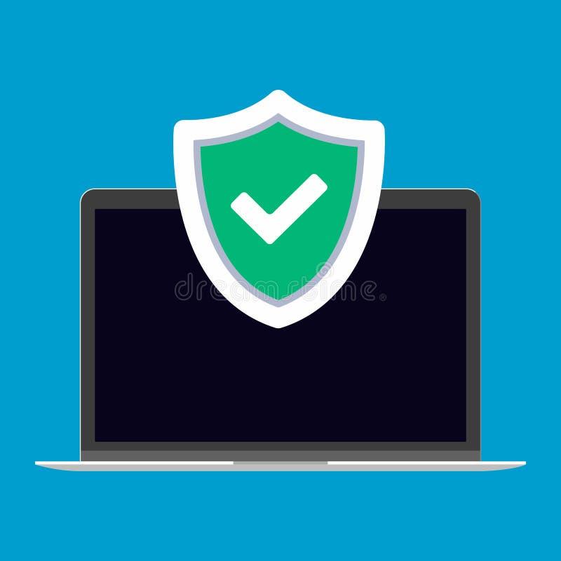 Illustrazione di vettore di concetto del segno di protezione del computer portatile illustrazione di stock