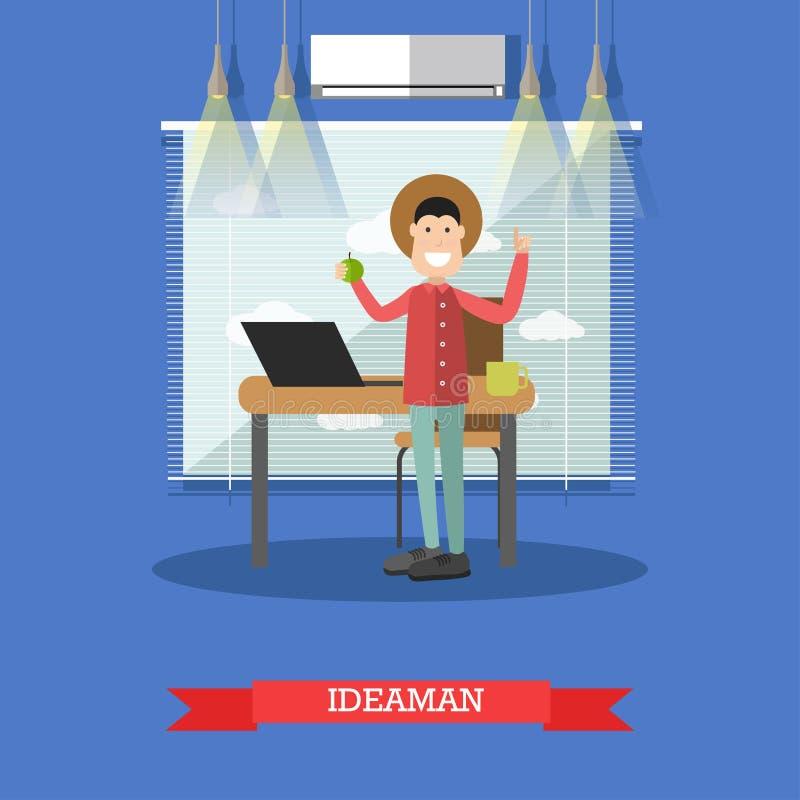 Illustrazione di vettore di concetto dell'uomo di idea nello stile piano illustrazione di stock