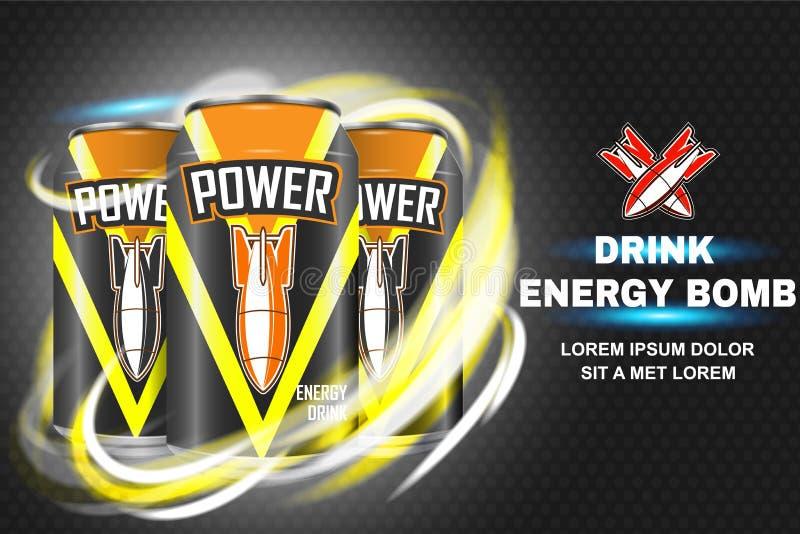 Illustrazione di vettore di concetto della bevanda di energia della bomba illustrazione di stock