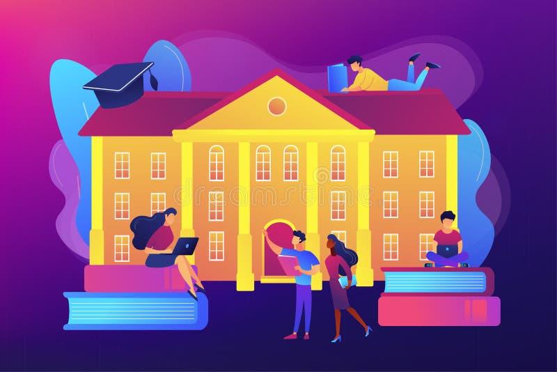 Illustrazione di vettore di concetto della città universitaria dell'istituto universitario illustrazione di stock