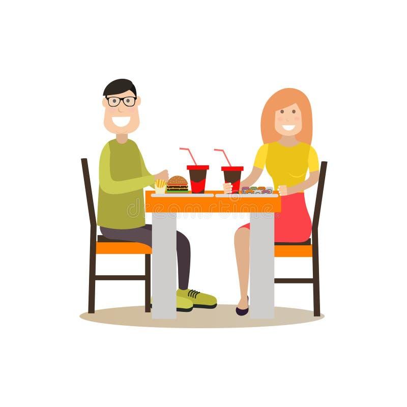 Illustrazione di vettore di concetto della gente dell'alimento nello stile piano illustrazione vettoriale