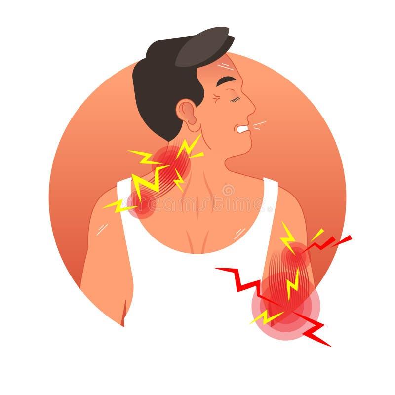 Illustrazione di vettore di concetto di dolore muscolare con il torso umano Sicurezza del lavoro e lesione di sport illustrazione di stock