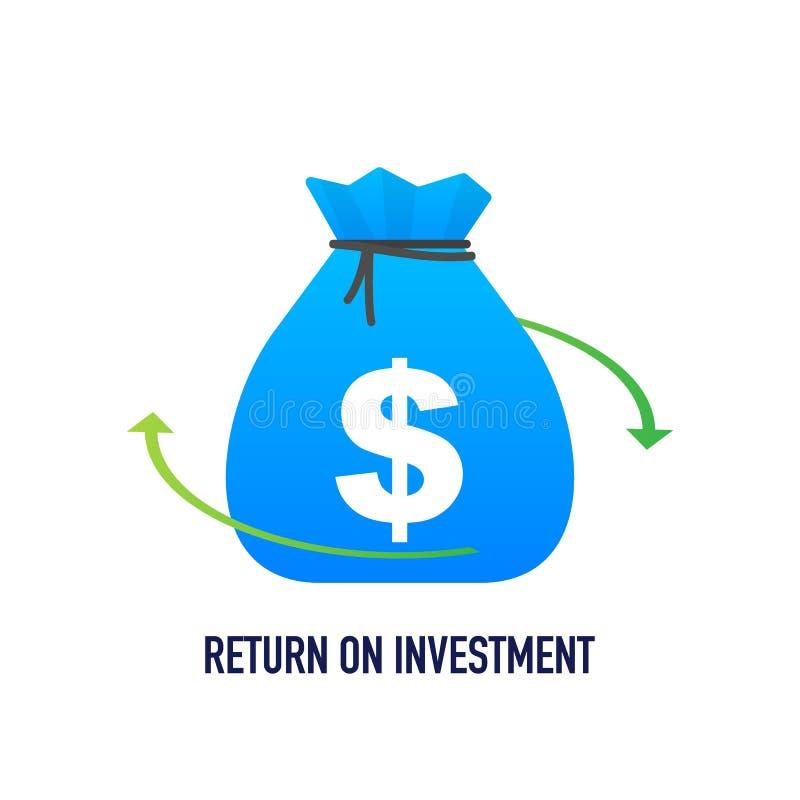 Illustrazione di vettore di concetto di ritorno su investimento nella progettazione isometrica Fondo di vendita di affari di ROI illustrazione vettoriale