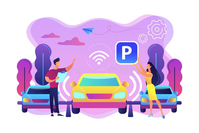 illustrazione di vettore di concetto di sistema dell'automobile di Auto-parcheggio illustrazione vettoriale