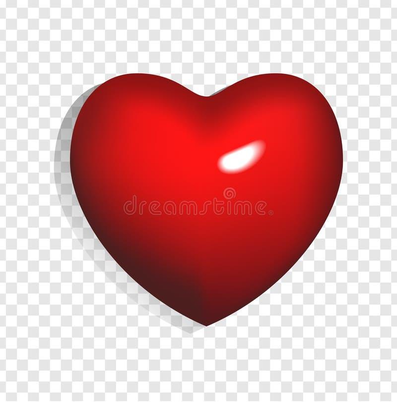 Illustrazione di vettore di cuore rosso luminoso 3d isolato su fondo trasparente illustrazione vettoriale