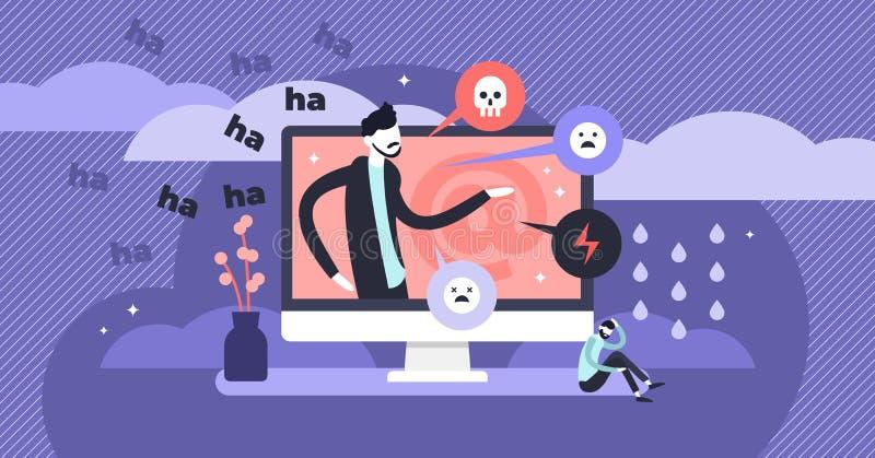 Illustrazione di vettore di cyberbullismo Concetto minuscolo piano delle persone di violenza di web illustrazione vettoriale