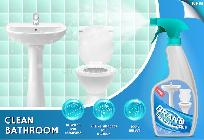 Illustrazione di vettore 3d dell'annuncio del pulitore di bagno illustrazione vettoriale