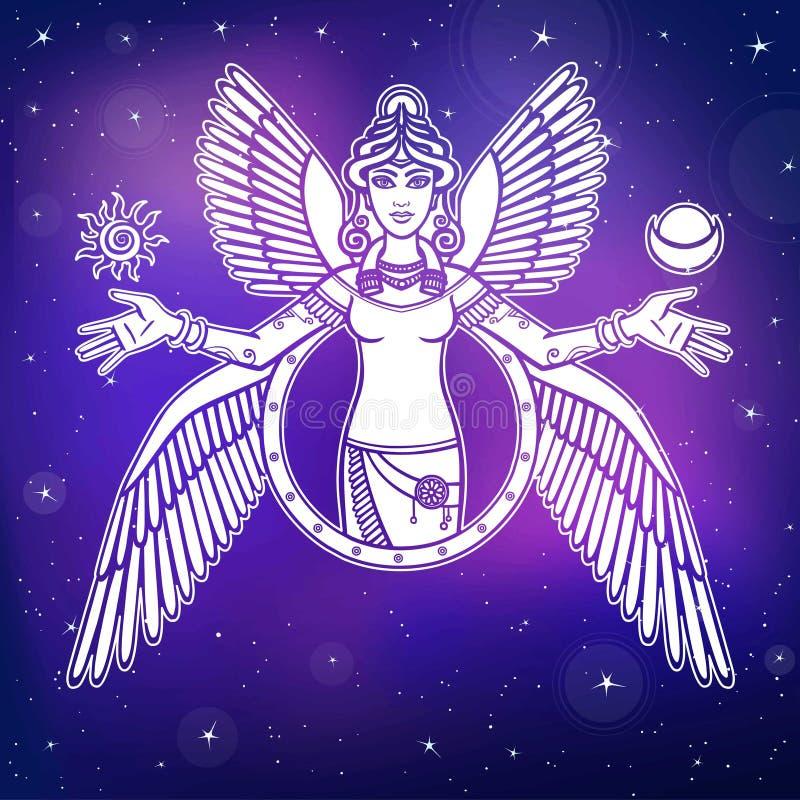 Illustrazione di vettore: dea stilizzata Ishtar royalty illustrazione gratis