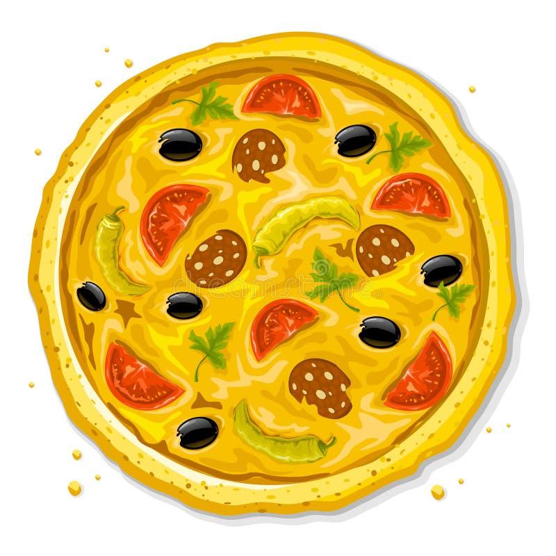 Illustrazione di vettore degli alimenti a rapida preparazione della pizza royalty illustrazione gratis