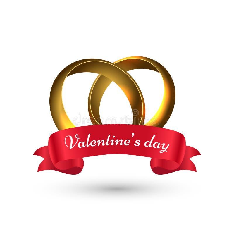 Illustrazione di vettore degli anelli delle coppie con iscrizione alla moda del San Valentino illustrazione vettoriale