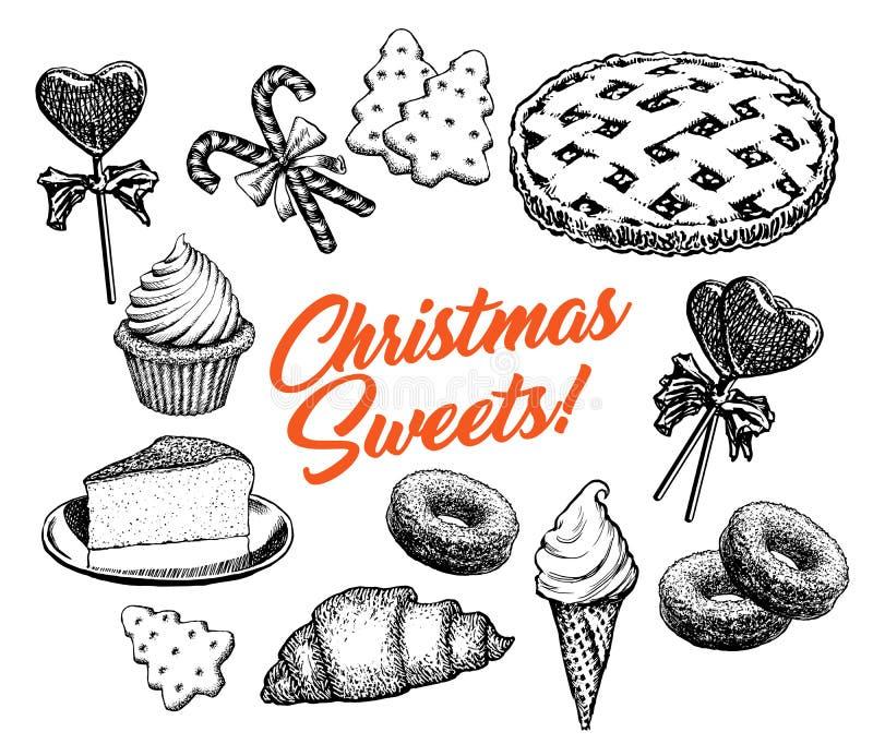 Illustrazione di vettore degli elementi disegnati a mano della raccolta dei dolci dei dolci di Natale retro illustrazione vettoriale