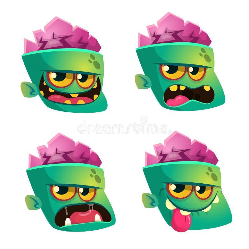Illustrazione di vettore degli emoticon del fronte dello zombie messi Icone di emoji di Halloween illustrazione di stock