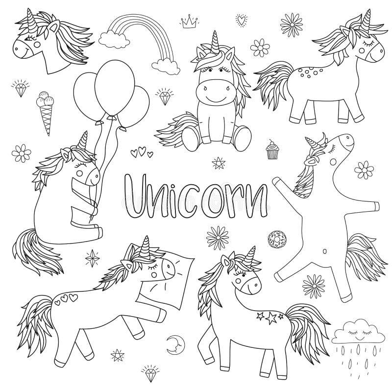 Illustrazione di vettore degli unicorni magici in bianco e nero Raccolta dell'icona dei cavalli, cuori, diamanti, dolci, stelle,  illustrazione di stock