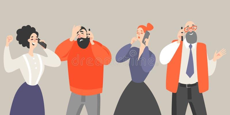 Illustrazione di vettore degli uomini e delle donne nello stile del fumetto che parlano sopra illustrazione vettoriale