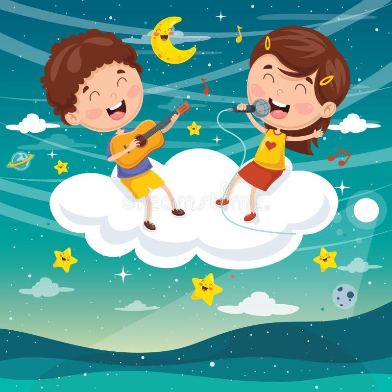 Illustrazione di vettore dei bambini che fanno musica sulla nuvola illustrazione vettoriale