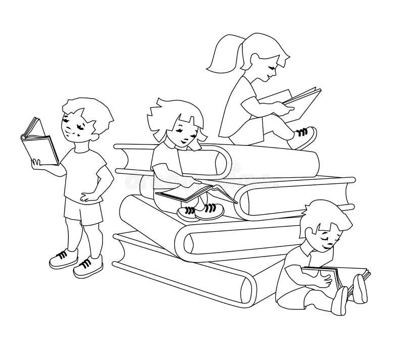 Illustrazione di vettore dei bambini che leggono su un mucchio enorme dei libri royalty illustrazione gratis