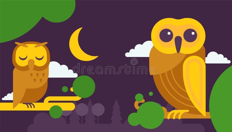 Illustrazione di vettore dei biglietti di auguri per il compleanno del gufo Uccelli saggi del fumetto sveglio con le ali dei colo royalty illustrazione gratis