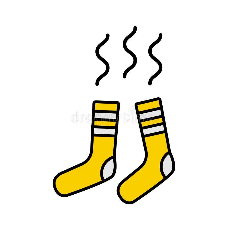 Illustrazione di vettore dei calzini piani gialli non freschi puzzolente sporchi royalty illustrazione gratis