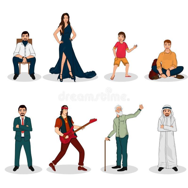 Illustrazione di vettore dei caratteri moderni della gente illustrazione di stock