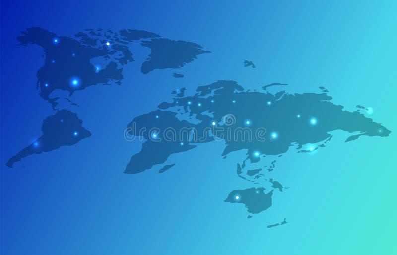 Illustrazione di vettore dei continenti della mappa di mondo della terra illustrazione di stock