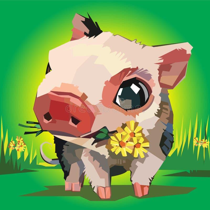 Illustrazione di vettore dei fiori del maiale del fumetto illustrazione vettoriale