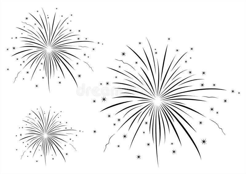 Illustrazione di vettore dei fuochi d'artificio in bianco e nero fotografie stock libere da diritti